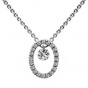 necklace with a pierced brilliant cut diamond moving into a with smaller diamonds castle set oval (extra ring at 3cm)