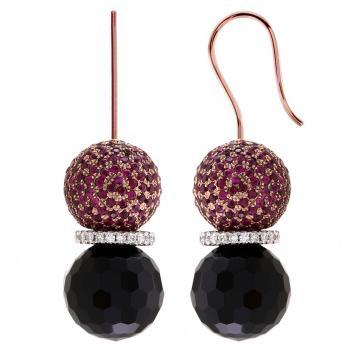 earrings with brilliant-cut diamonds in between round faceted onyx beads and a bead with rubies on a hook