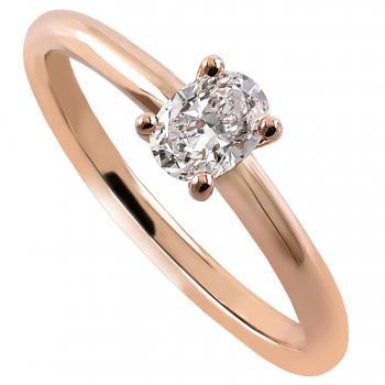 handmade solitaire ring with an oval cut diamond set in four prongs setting made of round wire