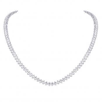 tennis necklace with brillant cut diamonds completely set