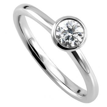 handmade solitaire ring with a brilliant cut diamond bezel set in a cup with a small whole left and right