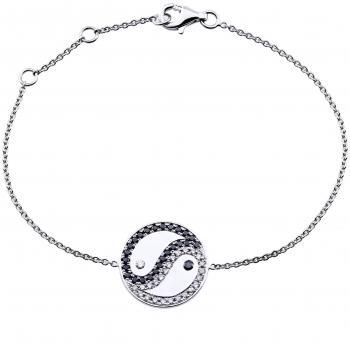 bracelet with Ying Yang logo pavé set with black and white brilliant cut diamonds