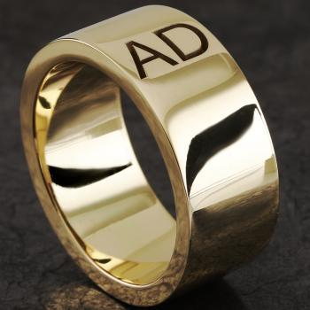 handmade wide slim designed wedding ring with two deeper initials