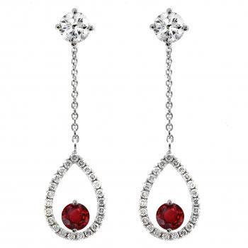 solitaire earrings with a central brilliant cut diamond and a fixed or removable chain with a pear-shaped pendant with ruby and castle set with diamonds