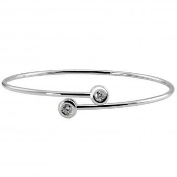 bangle bracelet hollow tube with two brilliant cut diamonds set in a donut or rounded ring