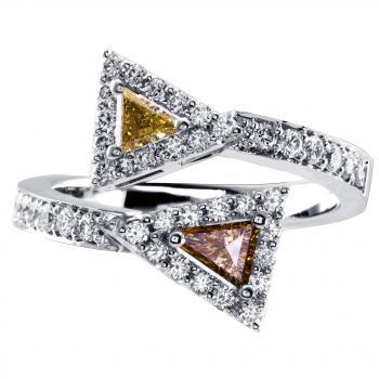 toi et moi halo ring with fancy coloured triangle and tapered shaped diamonds surrounded by smaller brilliant cut diamonds