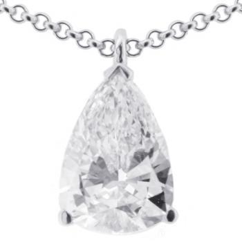 solitaire pendant with pear shaped diamond and small loop behind top for pending on a chain