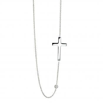 necklace with in between a handmade cross and  a white brilliant cut diamond set in a donut