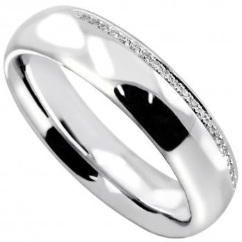 wedding ring slightly rounded completely half set with brilliant cut diamonds on the edge