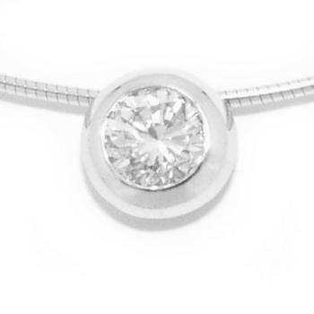 pendant with brilliant cut diamond set in a thicker donut