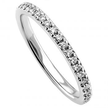 handmade alliance ring or wedding band with a rectangular slightly rounded profile with castle set brilliant cut diamonds