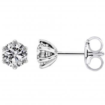 solitaire earrings with brilliant cut diamonds set in 6 rounded curved prongs