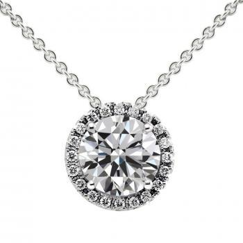 halo pendant with a larger central brilliantly set with four claws and surrounded with smaller brilliant-cut diamonds