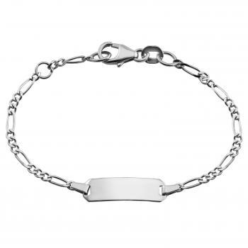 baby bracelet with an rectangular plate on a flat figaro chain with in between a ring on 1cm (exclusive engraving)
