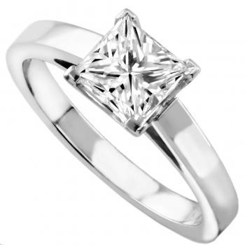 solitaire ring with a princess cut diamond set in a setting with four square cornered prongs on a slim band with palmets