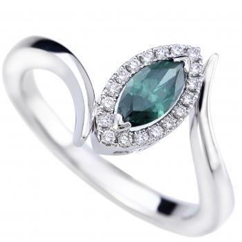 entourage ring with a marquise cut HTHP bluish green central diamond surrounded by smaller brilliant cut diamonds
