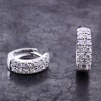 creole earrings pavé castle set with two rows of brilliant cut diamonds