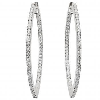 pavé earrings marquis shaped creoles set with brilliant cut diamonds and hinge and click system
