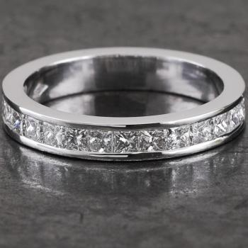 wedding ring diamond band aproximately half set with princess-cut diamonds