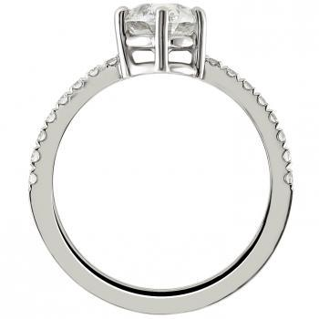 handmade solitaire ring with an oval cut diamond with pavé castle set smaller brilliant cut diamonds on the slim band
