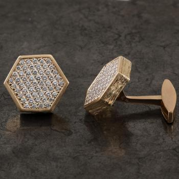 cufflinks hexagonal disc pavé set with brilliant cut diamonds