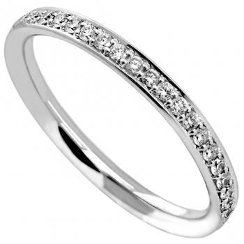 eternity ring slightly rounded inside and outside and completely set with small brilliant cut diamonds