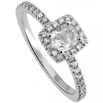 halo ring with a central cushion diamond and pavé set brilliant cut accent diamonds on the band