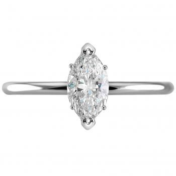 solitaire ring with a marquis cut diamond on a band with a round profile set with V-prongs on the points and two prongs on the left and right