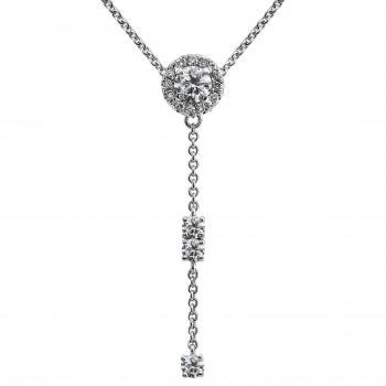 fine Y-entourage necklace with a central brilliant cut diamond surrounded by smaller diamonds under which three diamonds set with four claws each on a chain