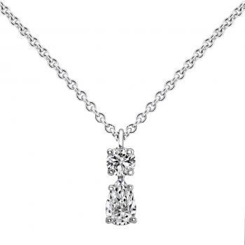 necklace with a solitaire pendant with a pear cut diamond and a brilliant cut above mounted with a small ring