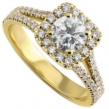 halo ring  with a central brilliant cut diamond surrounded with castle pavé set smaller brilliant cut diamonds on a round cushion on a band