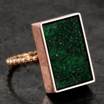 solitaire ring with a green uvarovite which is an emerald green variety of garnet, mounted in a rectangular box with hearts cut out with lace on a handmade band of soldered beads