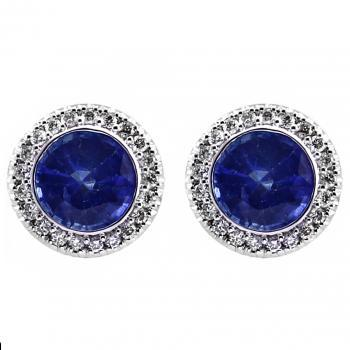 halo earrings with a central sapphire set in a donut castle set with small brilliant cut diamonds