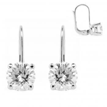 earrings with hook clip system and brilliant cut diamonds set in four prongs