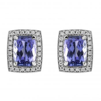 halo set or entourage earings with central rectangular antik cut Tanzanites surrounded by smaller pavé set brilliant cut diamonds finished with filet or engraving on a slim band