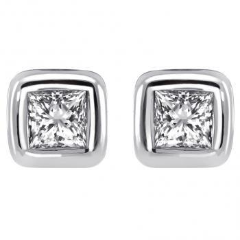 solitaire earrings with princess cut diamonds set into a thin rounded setting