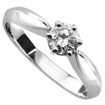 solitaire ring with a brilliant cut diamond set in 6 prongs
