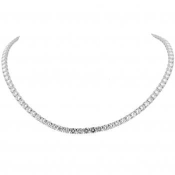 slightly descending tennis necklace or rivière with brilliant cut diamonds set with prongs or claws