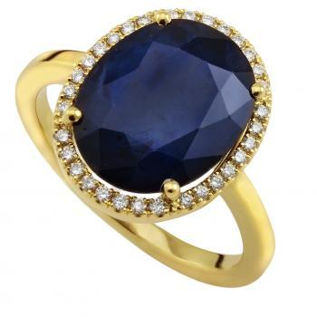 entourage ring with a central oval cut flatter sapphire and castle set accent diamonds on the band
