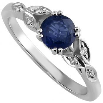 handmade soltaire ring with a brilliant cut sapphire along which smaller marquise shaped leaves decorated with diamonds on a rounded smaller band