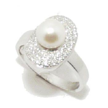 ring 18kt briljant parel 7mm