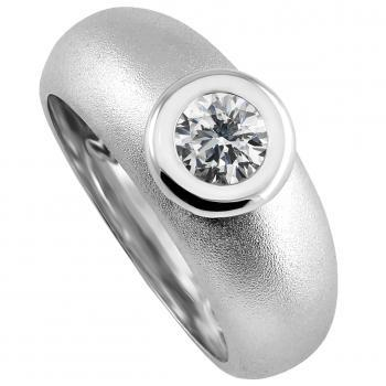 handmaded rounded solitairering with a brilliant cut diamond set in a donut setting