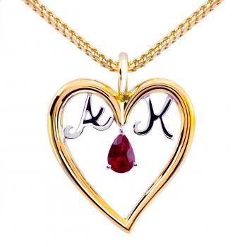 solitaire pendant with a pear-shaped cut ruby surrounded by a heart shaped frame wherein two letters
