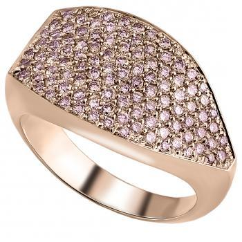 massive zigzag pavé ring set from above with pink natural fancy pink brilliant