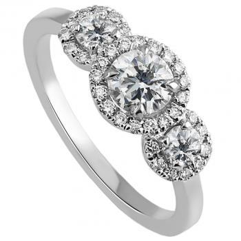entourage trilogy ring with three central diamonds surrounded with brilliant cut diamonds