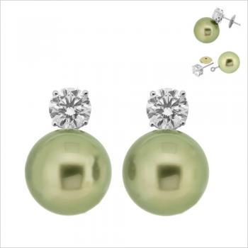 pearlearrings solitaire 4 prongs removable