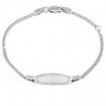 baby bracelet with an oval plate on a flat gourmet chain with in between a ring on 2cm (exclusive engraving)