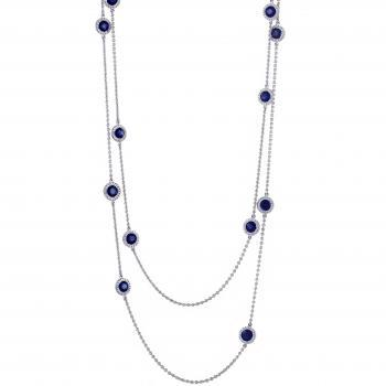 halo necklace with blue ceylon sapphire surrounded by brillant cut diamonds