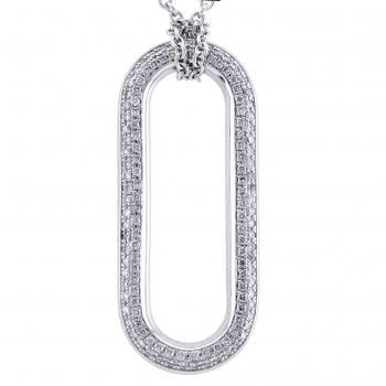 oval pendant with two rows of pavée set brilliant cut diamonds