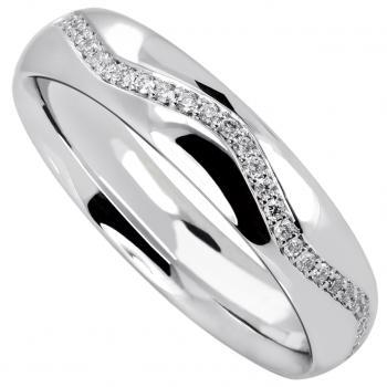 wedding ring slightly rounded outside and inside and half wavy set with brilliant cut diamonds